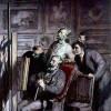 """HONORÉ DAUMIER: """"Die Kunstliebhaber"""";um 1862, Schwarze Kreide und Aquarell auf Papier, 324 x 311 mm;Baltimore (Maryland), The Walters Art Museum."""