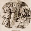 """CRISPIN VAN DEN BROECK: Folge zum """"Leben Christi"""", Maria Verkündigung1571, Radierung, eine Schwarzplatte, eine Tonplatte, 235 x 233 mm.Antwerpen, Stedelijk Prentenkabinet."""