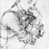 ALBRECHT DÜRER: Porträt der Agnes Dürer, um 1494; Feder auf Papier, Wien, grafische Sammlung Albertina