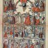Die sieben Werke der Barmherzigkeit, Ausführung: J. GILLO, um 1520, Holzschnitt, koloriert, 395 x 225 mm, Barcelona, Instituto Municipal de Historia,