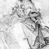 HANS BALDUNG GRIEN: Maria, das nackte Kind mit ihren Haaren bedeckend,1510–1511,Feder in Schwarz, auf Papier, Leiden, Universität, Prentenkabinet,