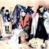 ADOLPH VON MENZEL: Hessische Bauern auf dem Markt,1848,Pastell auf braunem Papier, Berlin, Kupferstichkabinett,