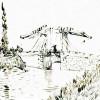 VINCENT VAN GOGH: Die Brücke von Arles,1888–1889,Rohrfeder in brauner Tusche, auf Papier, Los Angeles, Los Angeles County Museum