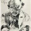 LOVIS CORINTH: Selbstporträt,1924;Schwarze Kreide auf weißem Papier, 311 × 248 mm, Cambridge (Massachusetts), Fogg Art Museum, Department of Prints and Drawings