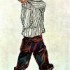EGON SCHIELE: Junge in gestreiftem Hemd,1910–1913;Schwarze Kreide und Aquarell, Wien, Privatsammlung