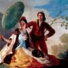 """FRANCISCO DE GOYA Y LUCIENTES: Entwürfe für die Wandteppiche zur Ausschmückung der königlichen Paläste El Pardo und El Escorial, Szene: """"Der Sonnenschirm"""";1777, Öl auf Leinwand, 104 × 152 cm;Madrid, Museo del Prado."""