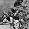 "FRANCISCO DE GOYA Y LUCIENTES: Folge der »Caprichos«, Blatt 43: ""Der Traum der Vernunft gebiert Ungeheuer"";1797–1799, Aquatinta-Radierung;Madrid, Biblioteca Nacional."