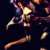 """FRANCISCO DE GOYA Y LUCIENTES: Serie der »pinturas negras«, Szene: """"Saturn verschlingt eines seiner Kinder"""";1821–1823, Öl auf Leinwand, 146 × 83 cm;Madrid, Museo del Prado."""