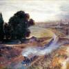 """ADOLPH VON MENZEL: """"Die Berlin-Potsdamer-Eisenbahn"""";1847, Öl auf Leinwand, 42 x 52 cm;Berlin, Alte Nationalgalerie."""