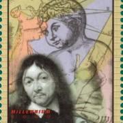 """Der Philosoph Descartes auf einer Briefmarke aus Sierra Leone, im Hintergrund sein Ausspruch """"Ich denke, also bin ich."""""""
