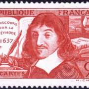 """René Descartes auf einer französischen Briefmarke aus dem Jahre 1937, im Hintergrund sein Hauptwerk """"Discours de la méthode"""""""