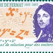 Französische Briefmarke aus dem Jahre 2001 mit Porträt Fermats und fermatscher Vermutung