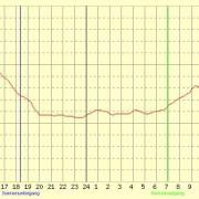 Aufgezeichneter Temperaturverlauf für 24 Stunden an einem Ort Deutschlands im Januar 2003