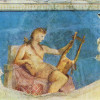 Östliche Beduinen brachten in ihren Karawanen die neue vorderasiatisch-syrische Leier mit nach Ägypten, die als Kithara dann in der griechischen Antike eine wichtige Rolle spielte.(Bildnis des APOLLO mit Kithara, Fresko, römischer Meister um 50 n.Chr.)