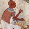 Blinder Musikant mit Harfe, DetailDie Bogenharfe war eines der bedeutendsten Instrumente im Alten Reich(Ägyptische Wandmalerei im Grab des NACHT in Theben, Ägypten; um 1422–1411 v.Chr.)