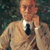 SERGEJ WASSILJEWITSCH RACHMANINOW (1873–1943) auf einem Gemälde von KONSTANTIN ANDREJEWITSCH SOMOW aus dem Jahr 1925