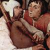 PIETER BRUEGEL D. Ä.: Bauerntanz, Detail: Ein Dudelsackspieler. Das Bild entstand um 1568, es wurde in Öl auf Holz gemalt und befindet sich im Kunsthistorisches Museum in Wien.