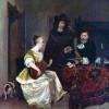 GERARD TER BORCH D. J.: Junge Frau, zwei Männer auf der Theorbe vorspielend, 2.Drittel 17.Jh., Leinwand, National Gallery London