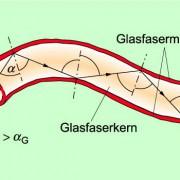 Aufbau einer einzelnen Glasfaser und Verlauf des Lichtes