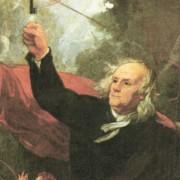 Benjamin Franklin experimentiert mit einem Drachen und untersucht damit die Gewitterelektrizität.