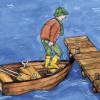 Beim Aussteigen aus einem Boot wirkt das Wechselwirkungsgesetz (actio=reactio).