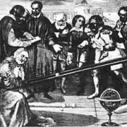 Galileis Experiment mit der geneigten Ebene (Gemälde aus dem 19. Jahrhundert)