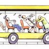 Trägheit beim Beschleunigen: Es wirkt eine Trägheitskraft entgegen der Richtung der Beschleunigung, also nach hinten.