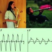 Schwingungsbilder des gleichen Tones bei einem Saxofon und einer Gitarre: Die unterschiedliche Schwingungsform bedeutet eine unterschiedliche Klangfarbe.