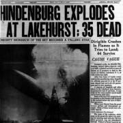 Ausschnitt aus einer amerikanischen Zeitung mit einem Bericht über das Unglück in Lakehurst