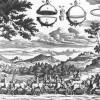 Der berühmte Versuche Guerickes mit den Magdeburger Halbkugeln: 16 Pferde waren nicht imstande, die durch den Luftdruck zusammengepressten Halbkugeln auseinanderzusiehen.