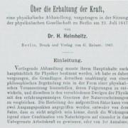 """Titelseite des handschriftlichen Manuskripts der Schrift von HERMANN HELMHOLTZ """"Über die Erhaltung der Kraft"""" (1847) und der entsprechende Ausschnitt aus der Originalpublikation."""