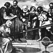 Torricelli war Schüler und Mitarbeiter von Galileo Galilei, der die experimentelle Methode in die Naturwissenschaften einführte. Das Bild zeigt ein Gemälde, auf dem Galileis Versuche mit einer geneigten Ebene dargestellt sind.