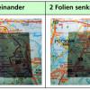 Zwei Polarisationsfilter in gleicher Lage (Foto links) und gekreuzt (Foto rechts)