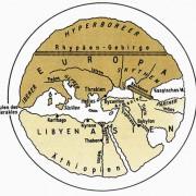 Die Karte des HEKATAIOS (6. Jh. v. Chr.) mit der Darstellung der damals bekannten Teile der Erde als Scheibe