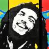 Graffiti-Porträt des jamaikanischen Reggae-Musikers BOB MARLEY (1945–1981)